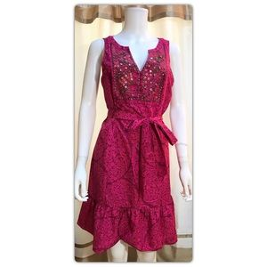 WHBM Pink Floral Beaded Dress